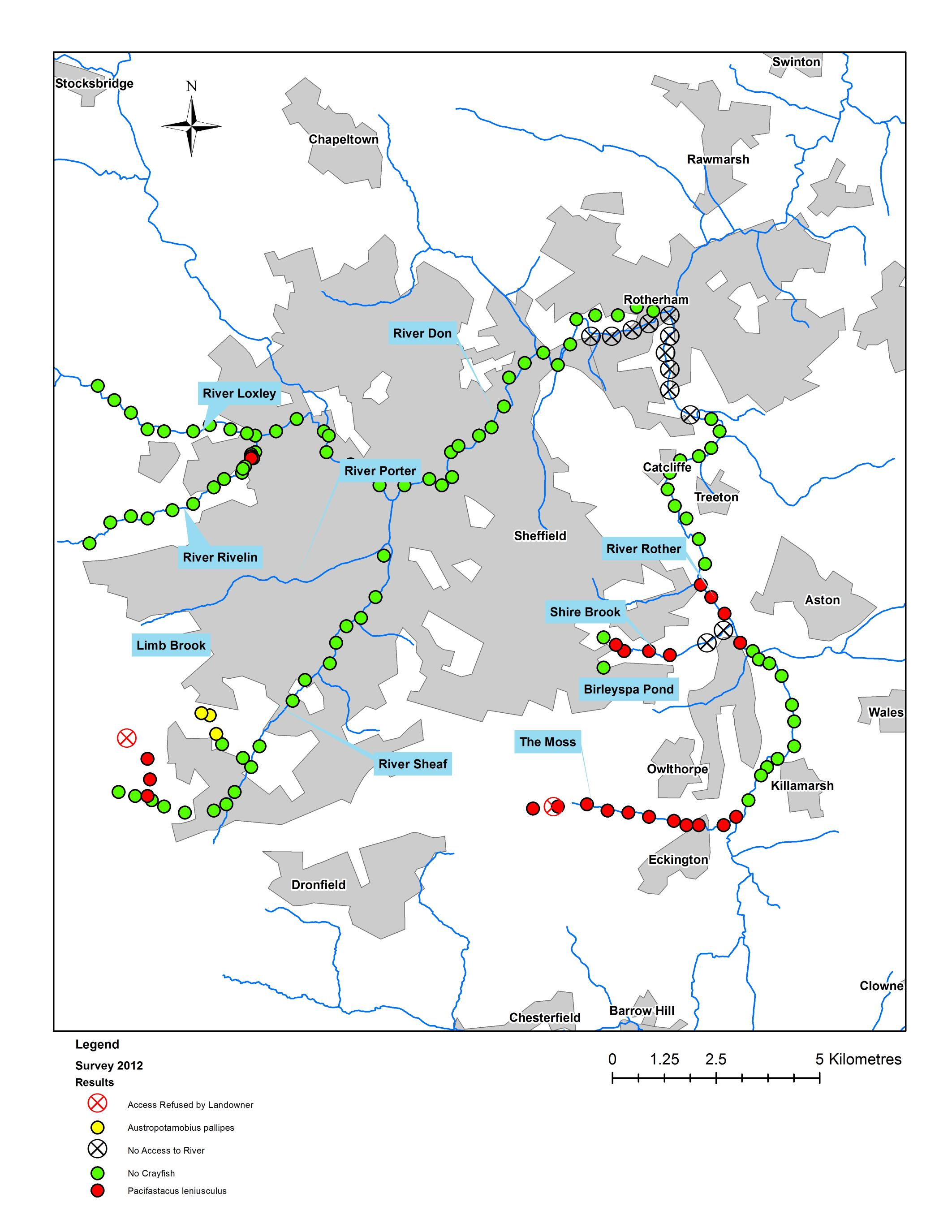 Signal Crayfish Uk Map New insights into the status of Signal Crayfish in the Don  Signal Crayfish Uk Map